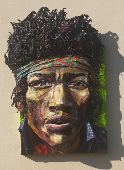 """Homage to Jimi Hendrix 2013, 45""""w X 65""""h X 13"""" d Brett Stuart Wilson"""