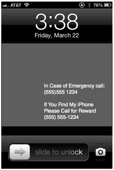 In Case of Emergency Info on your locked iPhone Screen