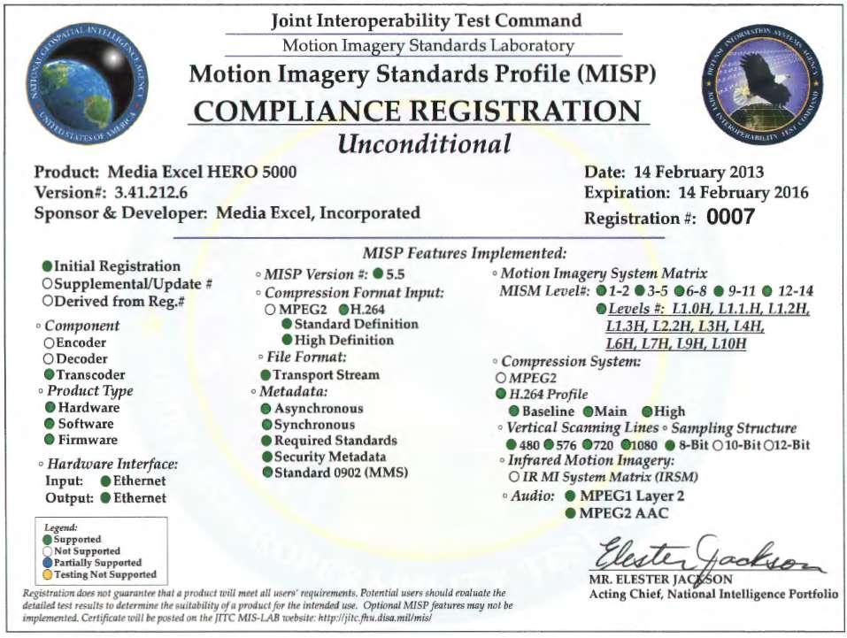 Media Excel HERO 5000 Transcoder JITC Certificate