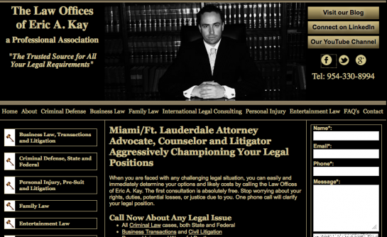 New Website for the Law Offices of Eric A. Kay, P.A.