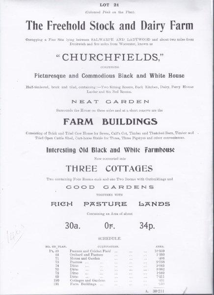 Auction details back in 1913