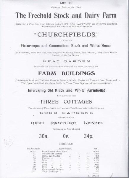 Auction details back in 1913
