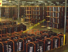 Warehouse Tire Racks stacked 4 high