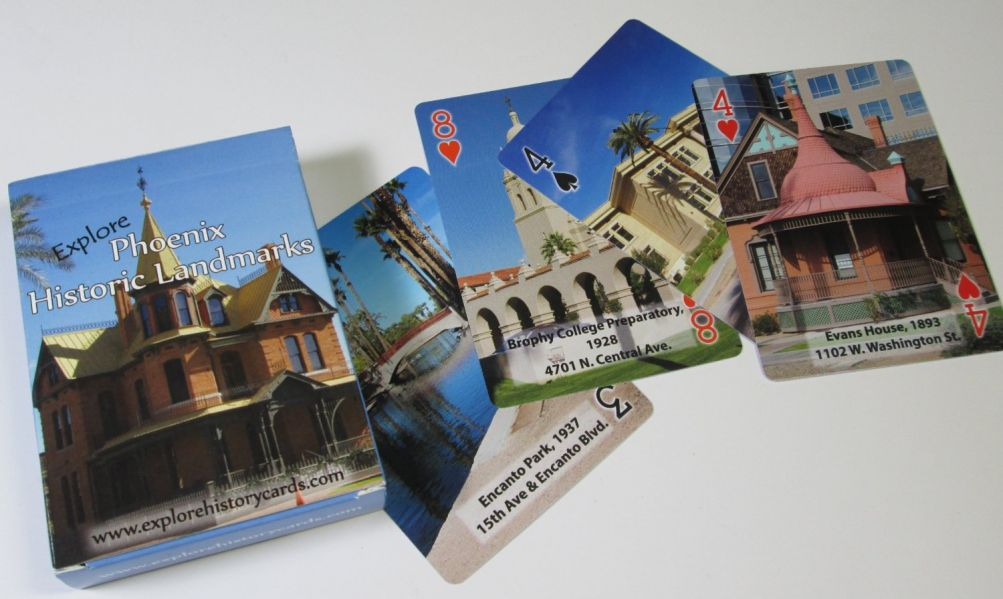 Explore Phoenix Historic Landmarks Playing Cards sample cards and box
