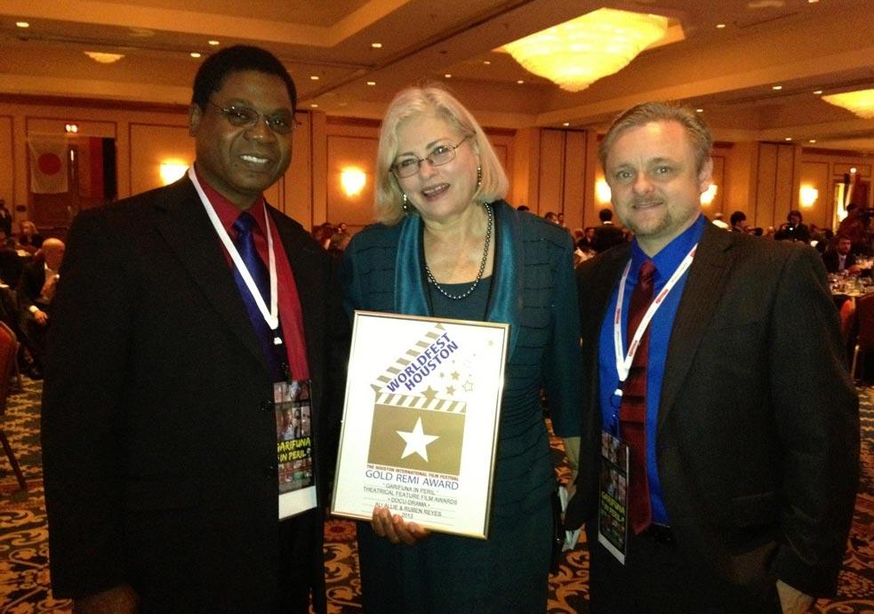 Reyes (L) & Allié (R) with Kathleen Haney, Program Director, Worldfest Houston