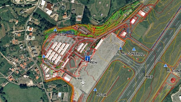 Survey data is overlaid against aerial photography and cartographic images