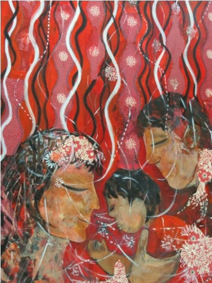 United, Tasneem Moochhala, Acrylic and Collage on