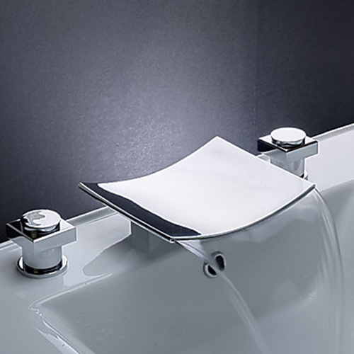 ... Waterfall Bathroom Sink Faucet with Stainless Steel Spout (Widespread