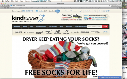 "Kindrunner.com is offering ""Free Socks for Life"" to the first 500 shoe customers"