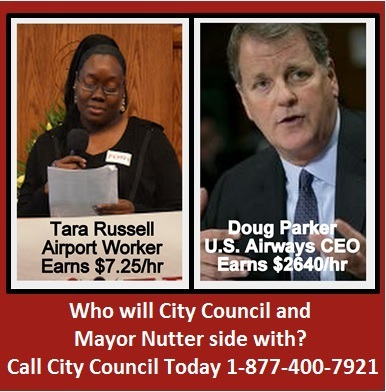 POWER demands US Airways pay airport workers a living wage