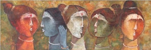 Taste of Gossip - 04, by Pon Ragunathan, Oil on Canvas, 122 x 39 cm, 2013