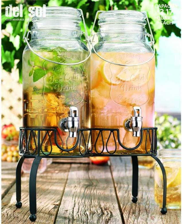 twin ice cold glass mason drink dispensers - Drink Dispensers
