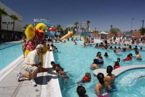 Joe Vassallo and Duckie at the10th annual Float Like A Duck water safety event