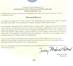 Text of Ohio Proclamation for Marshall Barnes