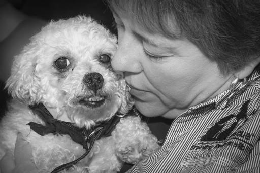 Theresa Strader and puppy mill dog, Bijou