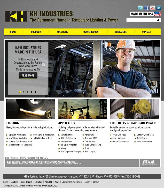 KH Industries new socially interactive website