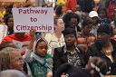 "Members of POWER Congregations rally for a ""Pathway To Citizenship"""