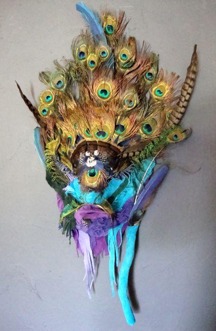 Larimar......34 x 20 shamanic mask by Tyanne