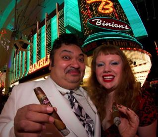 Paul and Sarah Vato in Front of Binion's Casino where Vato Cigars is located.