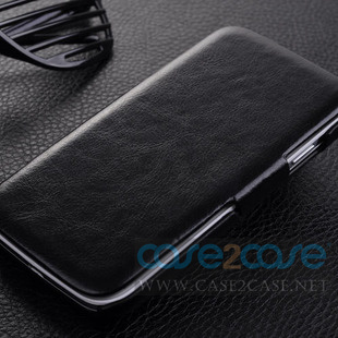 Genuine Flip Leather Case for Samsung Galaxy S4 Bl