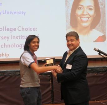 Joseph Federico presents scholarship award to Pamela Rivera
