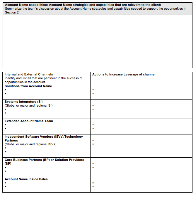 strategic account sales plan template