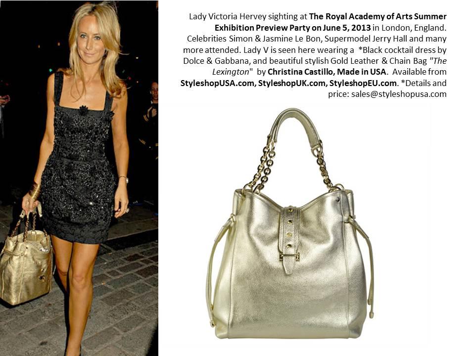 Royal Academy London, Lady Victoria Hervey  Gold Leather bag  Christina Castillo
