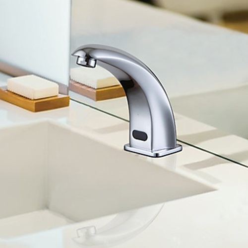 Contemporary Chrome Finish Sensor Brass Bathroom Sink Faucet