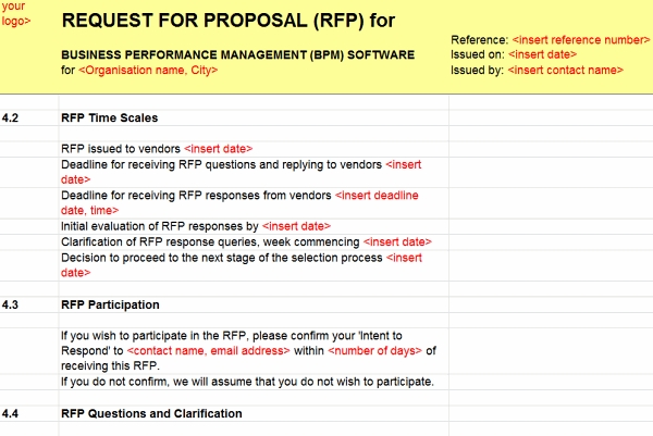 New Business Performance Management Bpm Rfi Rfp Template