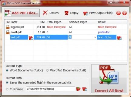 PDF to DOC Main Interface