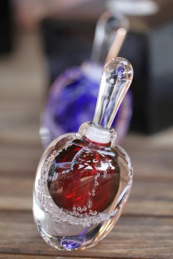 Luscious Roses parfum in hand blown glass perfume bottle