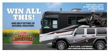 The Outdoor Adventure Dream Giveaway features both a Jeep Rubicon plus a RV.