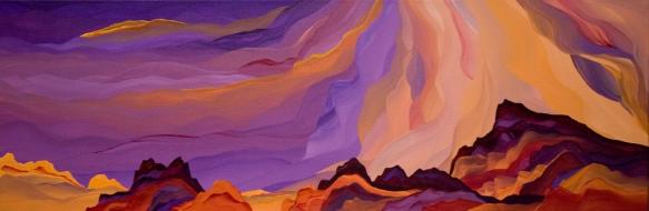 Sky Islands. Judy Choate. 12 x 36, acrylic on canvas