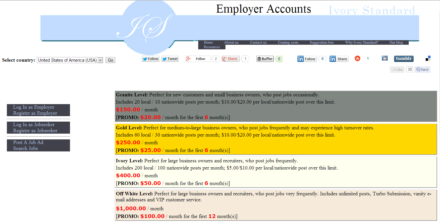 Ivory Standard client registration page