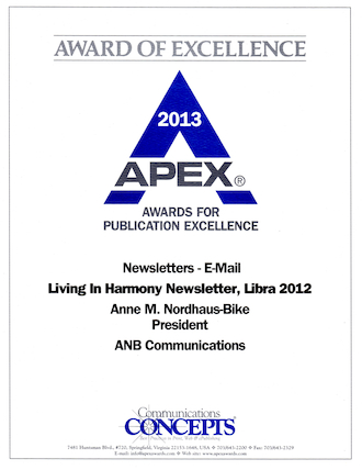 Astrologer Anne Nordhaus-Bike's newsletter has won a 2013 Apex Award.