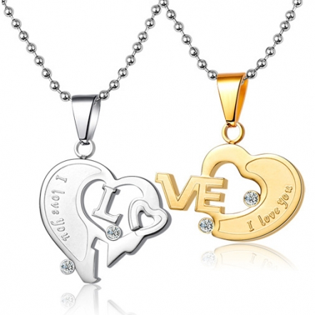 heart necklace for couples - photo #35