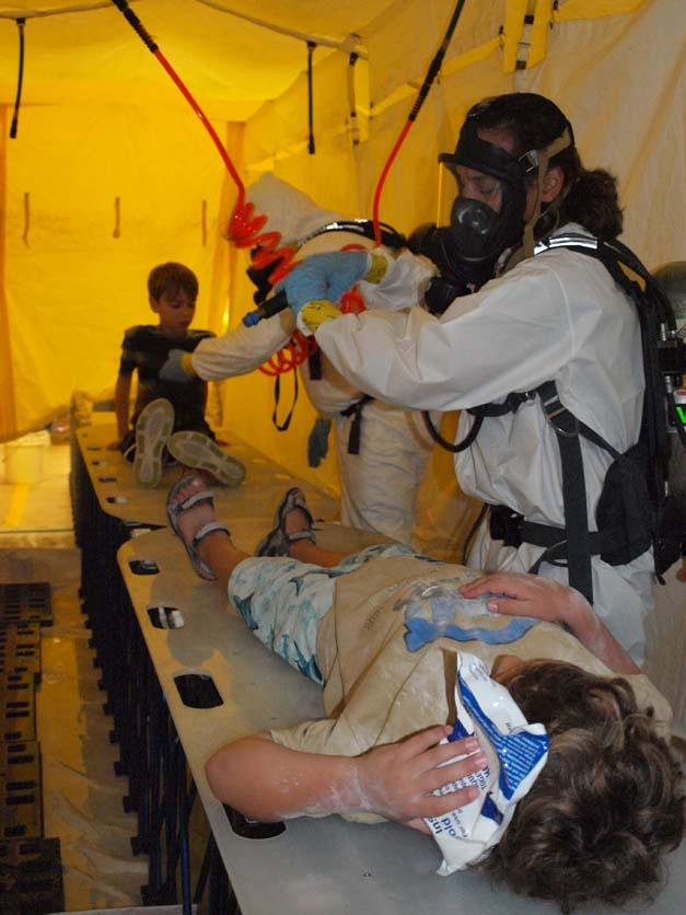 Flanders Firefighters Practice Decontaminating Victims