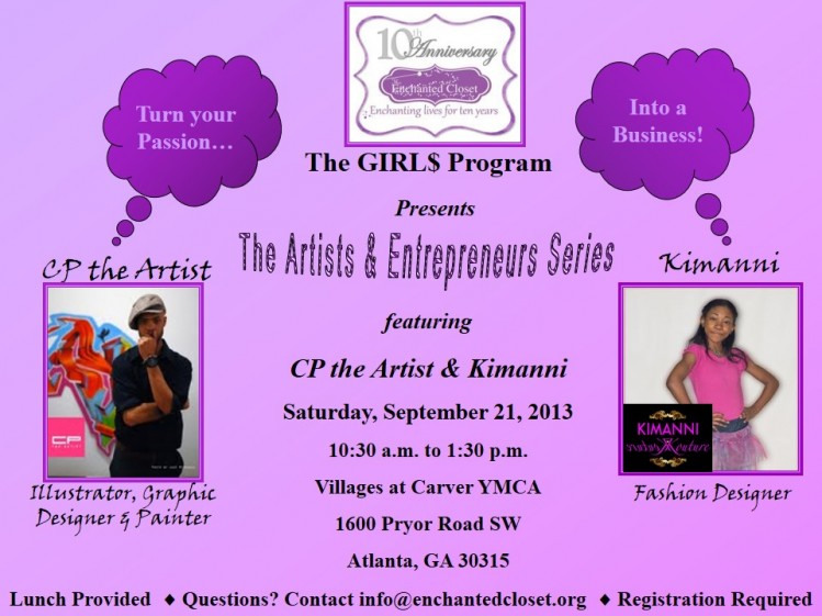 Artists and Entrepreneurs Series, 9/21, 10:30 a.m.-1:30 p.m.