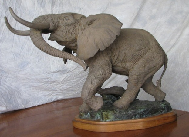"Lorenzo E Ghiglieri Prized Elephant Sculpture ""Enraged"" Roars to eBay Auction"