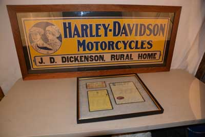 This 1916 Harley-Davidson cardboard sign in great condition sold for $8,800.