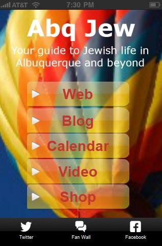 Abq Jew App - Home Screen