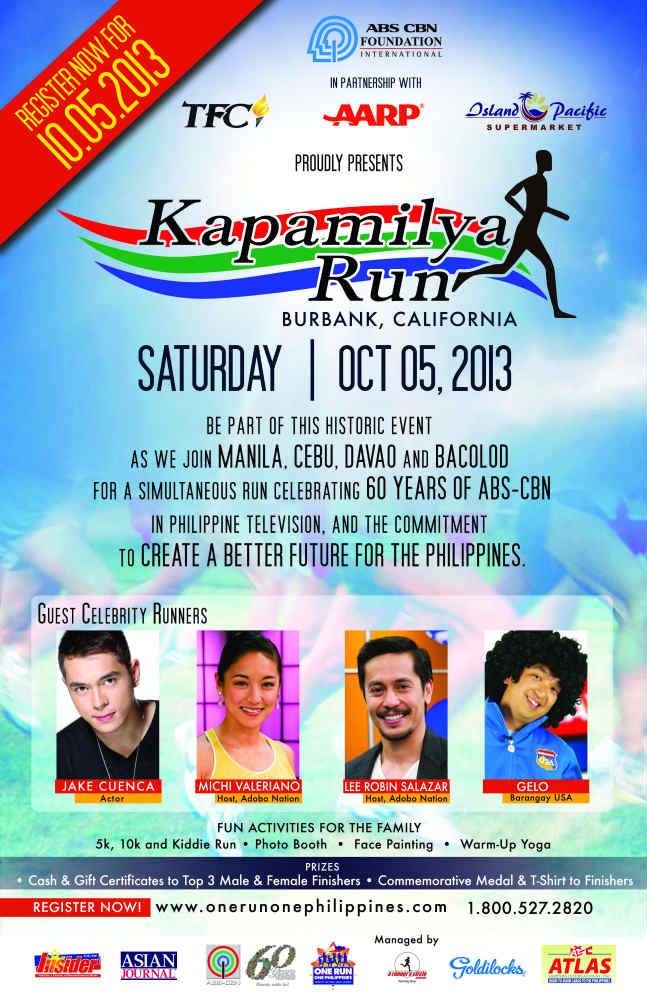 Kapamilya Run is all set for Oct 5 in Burbank.