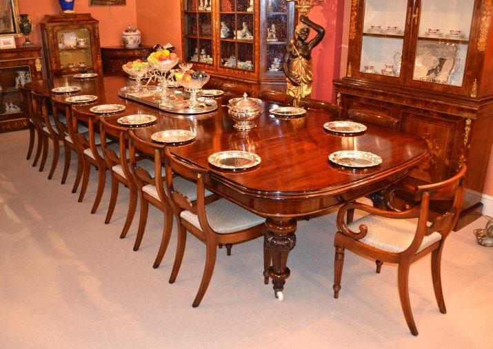 Beautiful sets of antique dining tables and chairs now for Beautiful dining room furniture