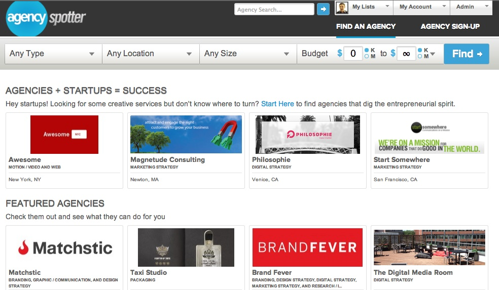 Agency Spotter makes it easy to start your search for creative agencies.