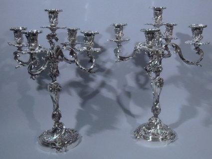 Stunning Rococo Masterpiece Sterling Silver Candelabra