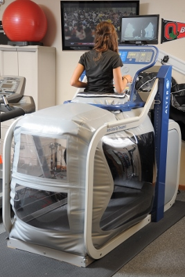 A runner using the AlterG® treadmill.