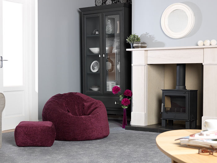 XL Panelled Bean Bag and Footstool in Luxury Chenille 'Warm Berry'