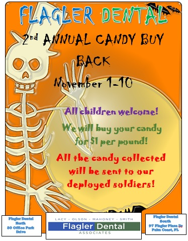 Flagler Dental will buy back Halloween candy for $1 per pound this year.