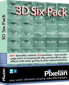 Pixelan's 3D Six-Pack transitions plug-in: one of its many new plugins for Magix