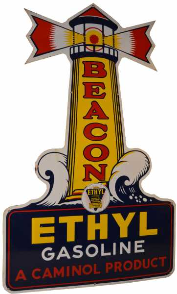 This Beacon Ethyl Gasoline single-sided porcelain sign hammered for $55,000.
